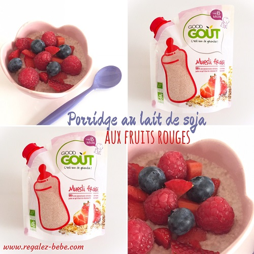Porridge au lait de soja et fruits rouges